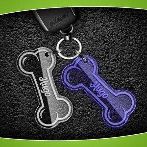 Schlüsselanhänger Knochen Acrylglas inkl. Namen/Telefon/Tasso