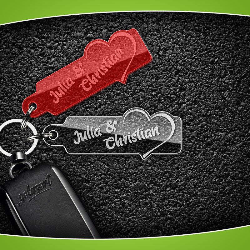 Schlüsselanhänger Acrylglas Herz mit Namen