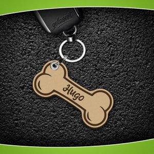 Schlüsselanhänger Knochen Leder inkl. Namen/Telefon/Tasso
