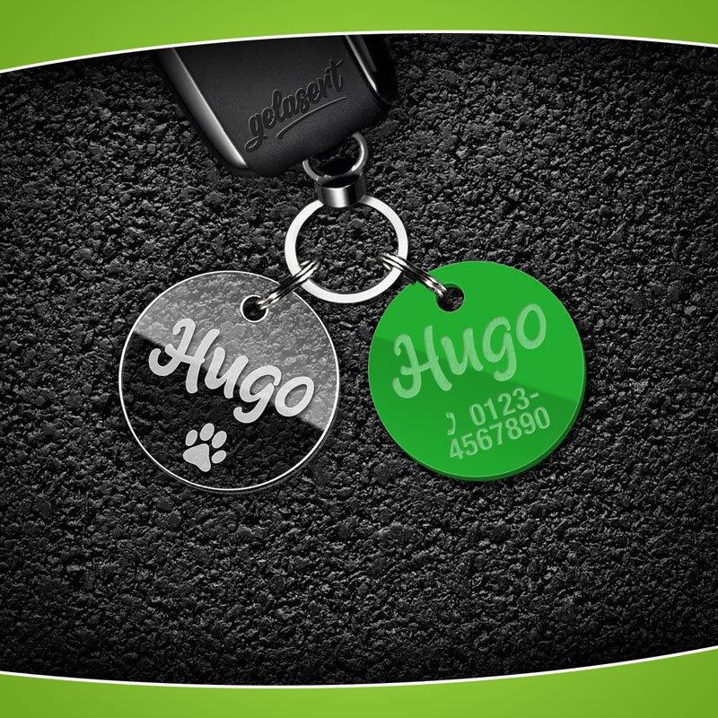 Schlüsselanhänger Marke Acrylglas inkl. Namen/Telefon/Tasso