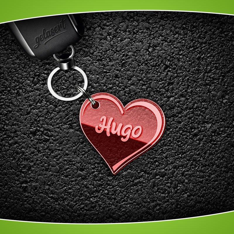 Schlüsselanhänger Acrylglas Herz groß mit Namen